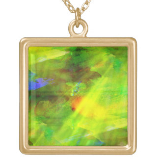 color abstract seamless background green, yellow gold plated necklace