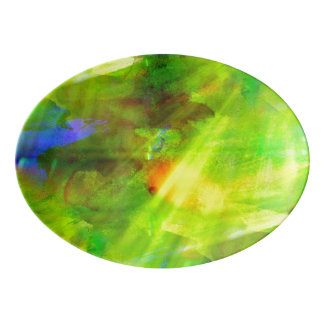 color abstract seamless background green, yellow porcelain serving platter