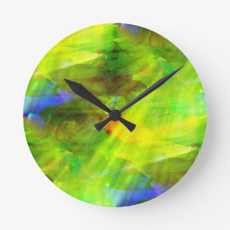 color abstract seamless background green, yellow round clock