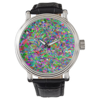 Color Abstract Stained Glass Pattern Watch