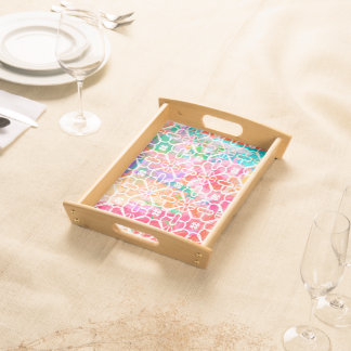 Color Abstract Watercolor Serving Tray