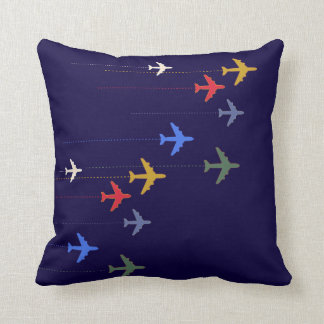 color airplanes throw pillow