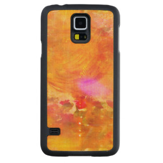 color art seamless background yellow, orange carved maple galaxy s5 case