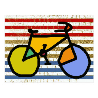color bike and stripes postcard