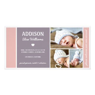COLOR BLOCK | BABY GIRL BIRTH ANNOUNCEMENT PERSONALISED PHOTO CARD