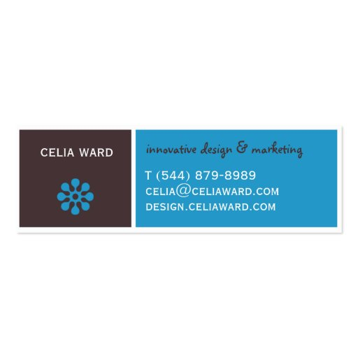 Color Block Brown and Blue Retro Business Card