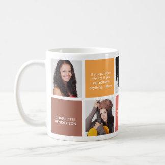 Color block brown personal quote grad custom photo basic white mug