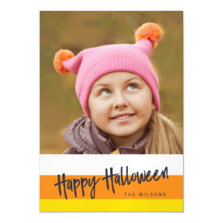 Color Block Candy Corn Happy Halloween Photo Magnetic Invitations