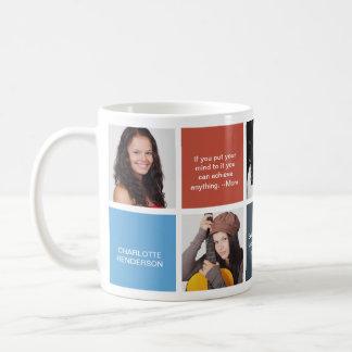 Color block navy personal quote grad custom photo basic white mug