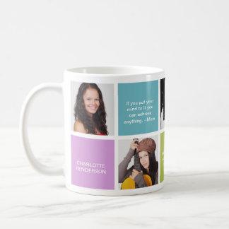 Color block personal quote grad custom multi photo basic white mug