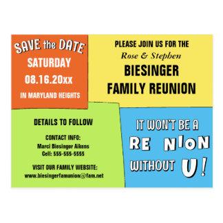 Color Block Save the Date Reunion Postcard
