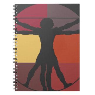 Color Block Vitruvian Man Spiral Notebook