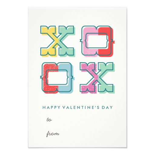 Color-Blocked XOXO Classroom Valentine's Day Card