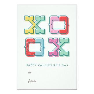 Color-Blocked XOXO Classroom Valentine's Day Card Personalized Invitation