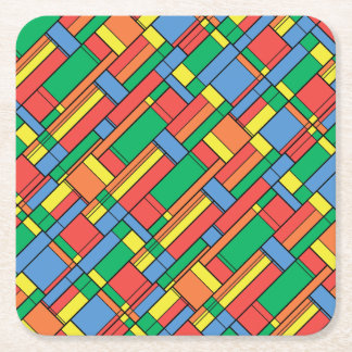 Color blocks square paper coaster