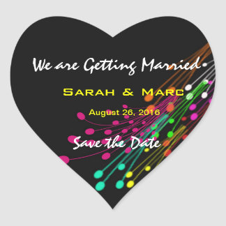 Color Burst Save the Date Heart Stickers Heart Stickers
