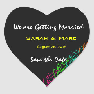 Color Burst Save the Date Heart Stickers Stickers