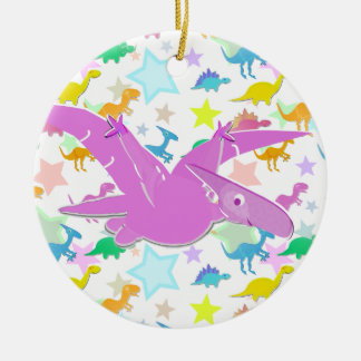 Color Cartoon Pteranodon Stars Circle Ornament