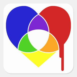 color chart heart square sticker