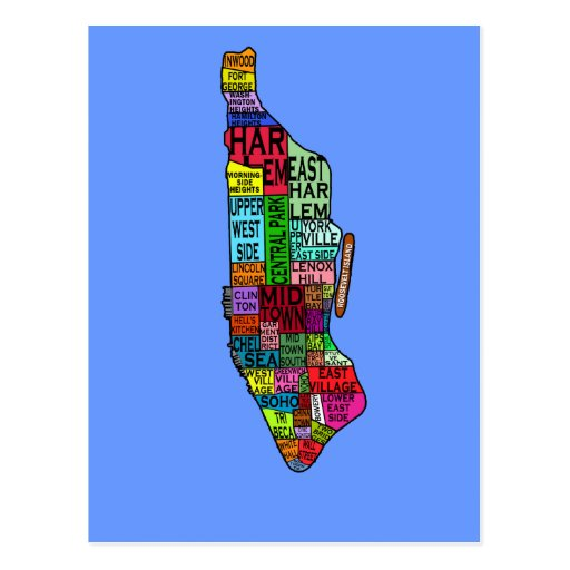 Color Coded Manhattan NYC Tshirts, Hoodies Postcards