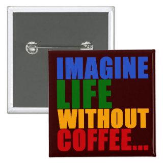 color coffee typography design 15 cm square badge