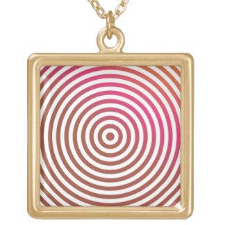 Color concentric circles square pendant necklace