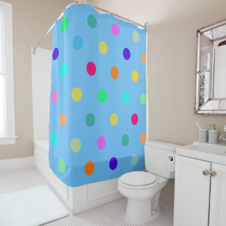 Color confetti polka dots shower curtain