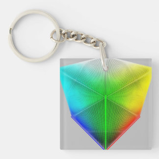 Color-Cube Single-Sided Square Acrylic Key Ring
