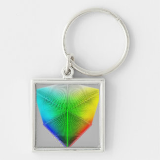 Color-Cube Silver-Colored Square Key Ring