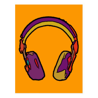 color dj headphone postcard