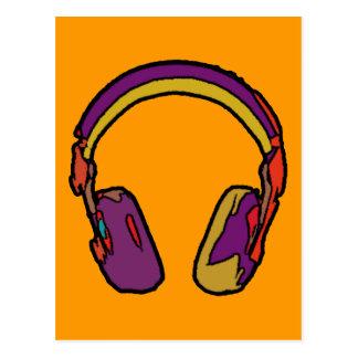color dj headphone postcard