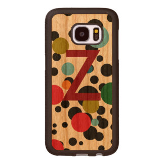 color dots with initial wood samsung galaxy s7 case