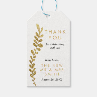 Color Editable Gold Leaf Thank You Favor Tag