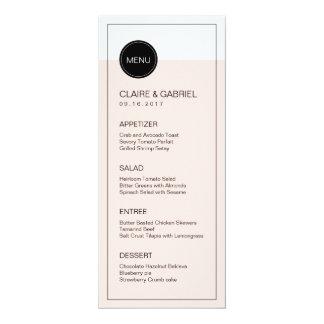 Color editable minimalist modern wedding menu 10 cm x 24 cm invitation card