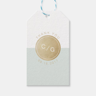 Color editable minimalist modern wedding monogram gift tags