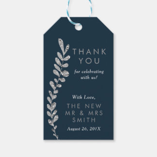 Color Editable Silver Leaf Thank You Favor Tag