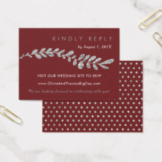 Color Editable Silver Leaf Wedding RSVP Card