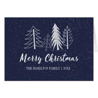 Color Editable Snowy Chalk Trees Non-Photo Card
