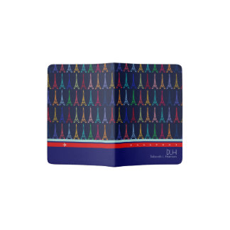 color Eiffel Towers with name & initials, elegant Passport Holder