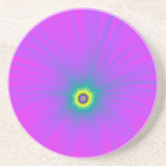 Color Explosion in Blue on Pink Coaster