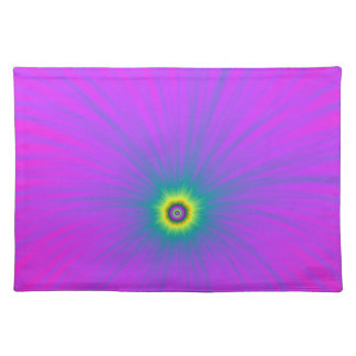 Color Explosion in Blue on Pink Placemats