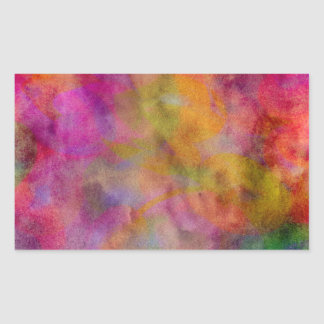 Color Explosion Watercolor Red Orange Violet Pink Rectangular Sticker