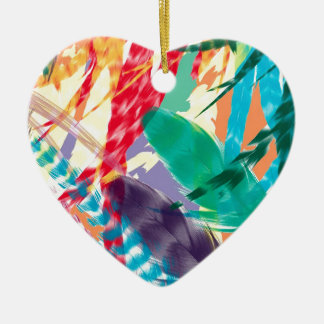 Color Feathers Ceramic Heart Decoration
