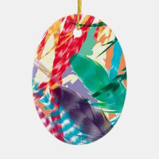 Color Feathers Ceramic Oval Decoration