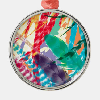 Color Feathers Silver-Colored Round Decoration
