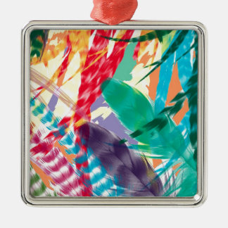 Color Feathers Silver-Colored Square Decoration