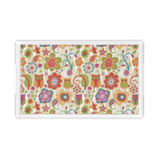 Color Floral and Owl Acrylic Tray