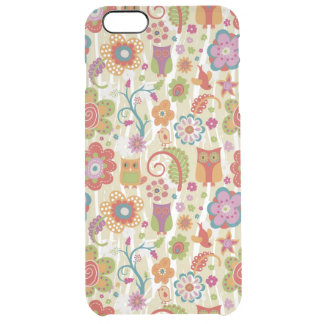 Color Floral and Owl Clear iPhone 6 Plus Case