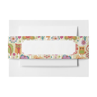 Color Floral and Owl Invitation Belly Band