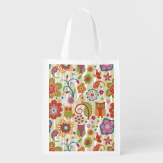 Color Floral and Owl Reusable Grocery Bag